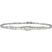 Vintage Retro 1950's Diamond Tennis Wedding Anniversary Frank Krementz 18k White Gold Bracelet