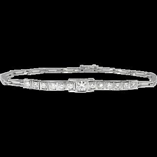 Vintage Retro 1950's Diamond Tennis Wedding Anniversary Frank Krementz 18k White Gold Bracelet