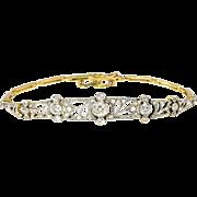 Antique Art Nouveau 1910 Old European Cut Rose Cut Single Cut Diamond Bracelet Platinum 18k Yellow Gold