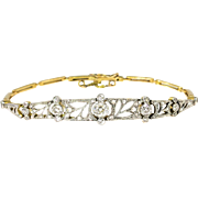 Antique Art Nouveau 1910 Old European Cut Rose Cut Single Cut Diamond Bracelet Platinum 18k Yellow Gold