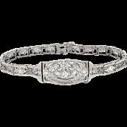 Art Deco 1930's Vintage Old European Transitional Cut Diamond Filigree 14k White Gold Platinum Tennis Line Bracelet