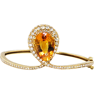 November Birthstone Citrine Diamond Bracelet Circa 1990's 10.55ct t.w. Bracelet 14k Yellow Gold Wrist 6.5 Inches