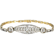 Antique Edwardian 1910's Old European Cut Rose Cut Diamond Filigree Heavy Bracelet Platinum 18k 7.25 Inch Wrist