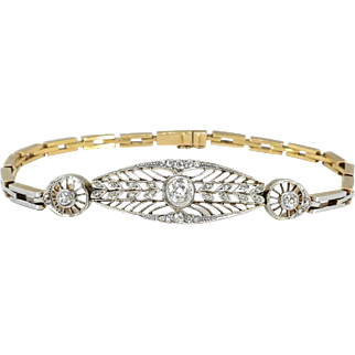 Antique Edwardian 1920's Old European Cut Rose Cut Diamond Filigree Heavy Bracelet Platinum 18k 7.25 Inch Wrist