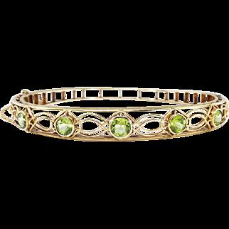 "Vintage Art Deco Bracelet Peridot Lattice Bangle Filigree Circa 1930's Hinged Cuff 14k Yellow Gold Wrist 7"" Inches"