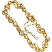 Antique Diamond Gold Bracelet .88ct t.w. Circa 1900's Old European Cut Bracelet 22k Yellow Gold Platinum 7.25' Inch Wrist