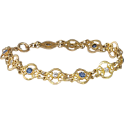 Antique Bracelet Art Nouveau 1900's Blue Sapphire & Old European Cut Diamond 14k Yellow Gold Bracelet