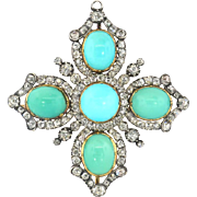 Antique Victorian Turquoise Diamond Pendant Circa 1860's 17.34ct t.w. Old Mine Cut Diamond Brooch Pin 18k Rose Yellow Gold Sterling Silver
