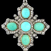 Antique Victorian Turquoise Diamond Pendant Brooch 17.34ct t.w.