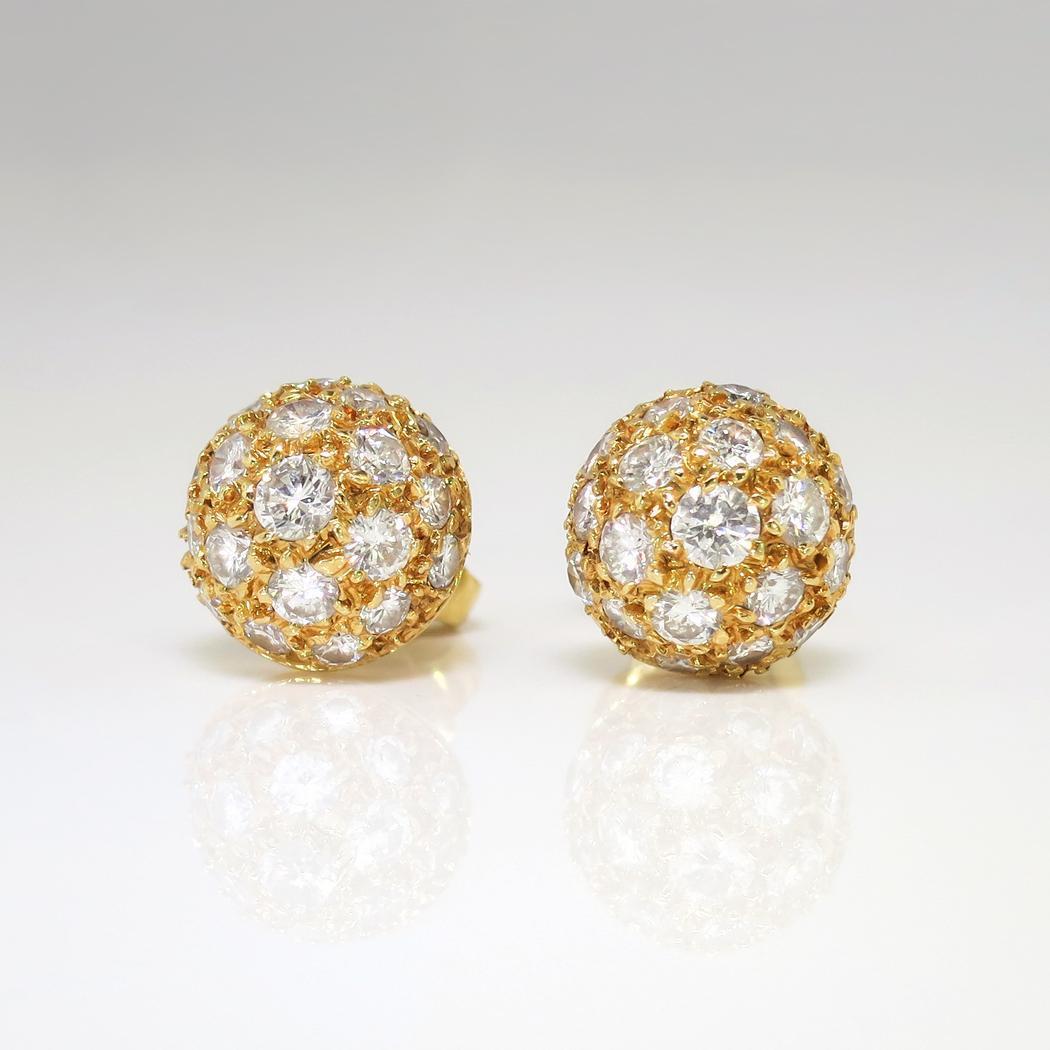 Estate Vintage 1ct T W Dome Ball Diamond Pave Stud Earrings 18k