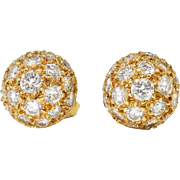 Estate Vintage Dome Ball Diamond Pave' Stud Earrings 18k Gold