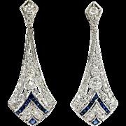 Estate 1.76ct t.w. Blue Sapphire & Diamond Art Deco Style Chandelier Wedding Earrings Platinum
