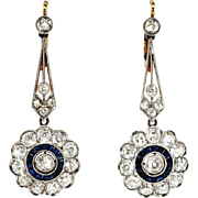Vintage Edwardian 1920's 4ct t.w. Blue Sapphire & Diamond Halo Chandelier Wedding Earrings Platinum 18k Yellow Gold