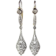 Antique Art Nouveau 1900's .30ct t.w. Lacey Filigree Old European Cut Rose Cut Diamond Chandelier Earrings 18k Platinum