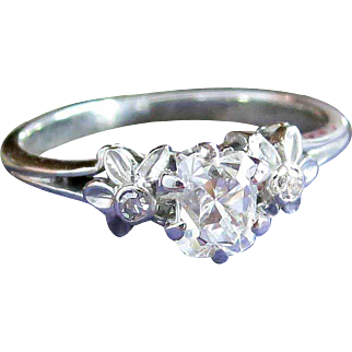Vintage Edwardian 1920's .53ct t.w. Old Cushion Cut Diamond Engagement Ring 14k White Gold