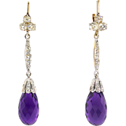 Antique Vintage Edwardian 1920's 22.16ct t.w. Old Mine Cut Diamond & Purple Amethyst Chandelier Drop Earrings 18k White Yellow Gold