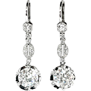 Vintage Art Deco 1930's 3.82ct t.w. Old European Cut Diamond Drop Chandelier Earrings Platinum 14k