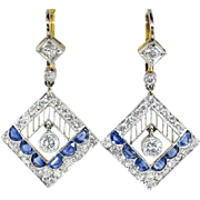 Edwardian Vintage 1920's Blue Sapphire Diamond Chandelier Wedding Drop Earrings Platinum 18k Yellow Gold
