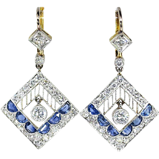 Edwardian Vintage 1920's Blue Sapphire Diamond Chandelier Wedding Drop Earrings Platinum 18k Yellow Gold