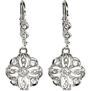 Vintage 1930's Art Deco Old Transitional Cut Rose Cut Diamond 14k White Gold Drop Chandelier Earrings