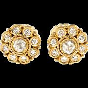 Art Deco Diamond Stud Earrings .93ct t.w. Circa 1930's Halo Old European Cut Single Cut Diamonds 18k Yellow Gold