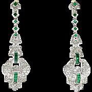 Vintage 4.15ct t.w. Art Deco Emerald Diamond Earrings Circa 1930's Unique Single Cut Drop Chandelier Earrings Platinum 18k Yellow Gold
