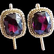 Antique Garnet Earrings 7.31ct t.w. Victorian Circa 1890's 10k/18k Yellow Gold Gemstone Drops