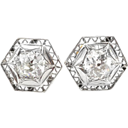 Art Deco 1.39ct t.w. Diamond Studs Circa 1930's Hexagon Filigree Earrings 18k 10k Gold