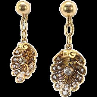 Victorian Antique Diamond Earrings Circa 1890's .50ctw Old Mine Cut & Rose Cut Diamond Shell Drop Earrings 18k Yellow Gold