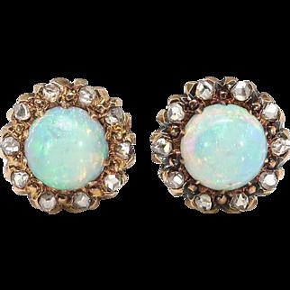 Antique Victorian 1.20ct t.w. Opal & Rose Cut Diamond Halo Earrings 10k Yellow Gold