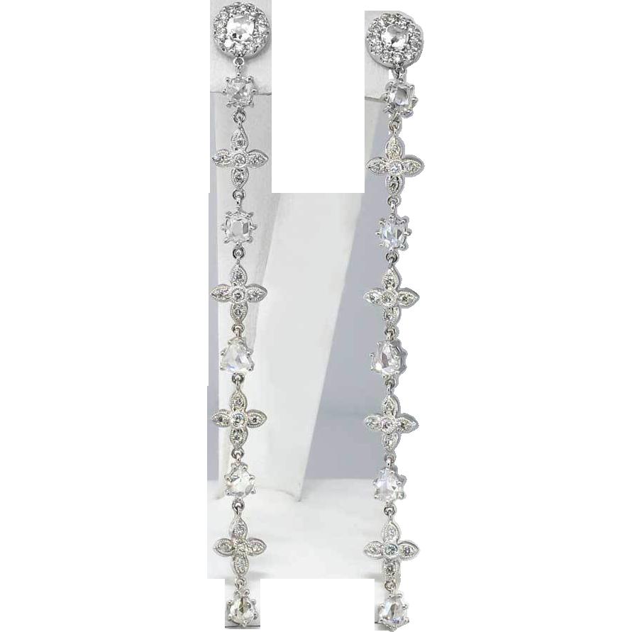 Glorious estate rose cut diamond shoulder duster chandelier glorious estate rose cut diamond shoulder duster chandelier earrings 18k arubaitofo Choice Image