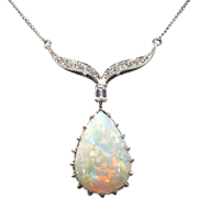 Vintage Estate 1950's Large Opal Diamond Birthstone Wedding Anniversary Necklace Pendant 14k White Gold