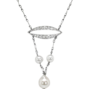 Antique Art Nouveau 1900's Pearl Diamond Wedding Birthstone Pendant Necklace Platinum