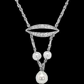 Antique Art Nouveau 1900's Pearl Diamond Wedding Birthstone Pendant Necklace Platinum