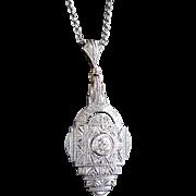 Art Deco 1930's Vintage Filigree Old Transitional Cut Diamond Pendant Necklace 14k White Yellow Gold