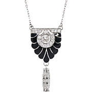 "Edwardian Diamond Onyx Pendant Circa 1920's Old European Cut & Rose Cut Diamonds Platinum Necklace 18.25"" inches"