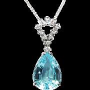 Vintage Aquamarine Diamond Pendant Circa 1970's Aquamarine Pear Shape Diamond Necklace Wedding Gift 18k White Gold
