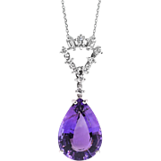 Vintage Amethyst Diamond Pendant 16.22ct t.w. Circa 1970's Multi Shaped Diamond Necklace Gift 18k White Gold