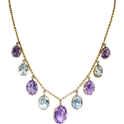 Antique Art Nouveau Necklace Circa 1900's 16.40ct t.w. Amethyst Aquamarine Festoon Necklace 9k Gold