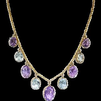 Antique Art Nouveau Necklace Circa 1900's 16.40ct t.w. Amethyst Aquamarine Festoon Necklace 9k Gold