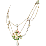 "Vintage Opal Enamel Necklace Circa 1950's Natural Opal Festoon Necklace 15"" inches 10k Gold"