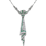 Art Deco Emerald Diamond Necklace 2.55ct t.w. Vintage Circa 1920's Old European Cut Diamond Emerald Filigree Necktie Pendant Platinum