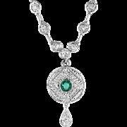 Antique Emerald Diamond Necklace Edwardian Circa 1910 1.77ct t.w. Old European Cut Diamond Necklace 18k White Gold