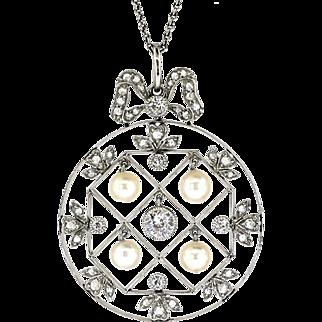 Antique Diamond Necklace 1915 Edwardian Old European Cut Diamond Seed Pearl Wedding Anniversary Necklace Pendant Platinum