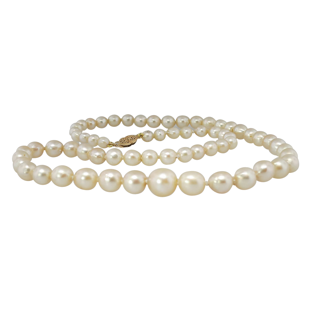 Antique Gia Certified Graduated Pearl Wedding Strand