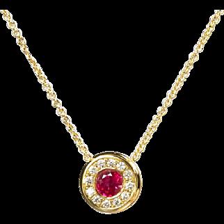 Vintage Ruby Diamond Necklace Circa 1990's Natural Red Ruby Diamond Halo Pendant 18k Yellow Gold