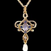 Art Nouveau 1900's .93ct t.w. Natural Moonstone, Sapphire & Diamond Lavalier Pendant Necklace 14k 10k Yellow Gold
