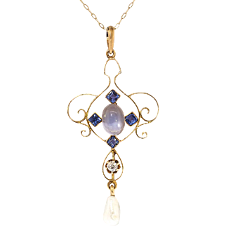 Art Nouveau 1900's .93ct t.w. Natural Moonstone, Sapphire & Diamond Lavalier Pendant Necklace 14k 10k Yellow Gold