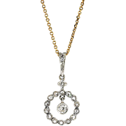 Vintage 1930's Art Deco Old European Cut Rose Cut Diamond Wedding Necklace Pendant 18k 14k Rose Gold & Platinum