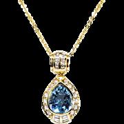 Vintage Aquamarine Diamond Pendant H Stern Estate 1980's Aquamarine Diamond Pendant 18k Yellow Gold